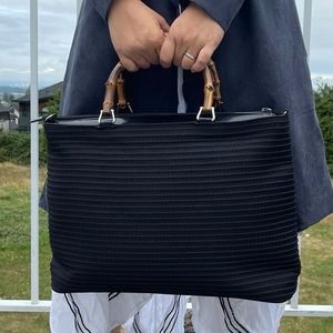 Auth large Gucci Bamboo Handle bag tote